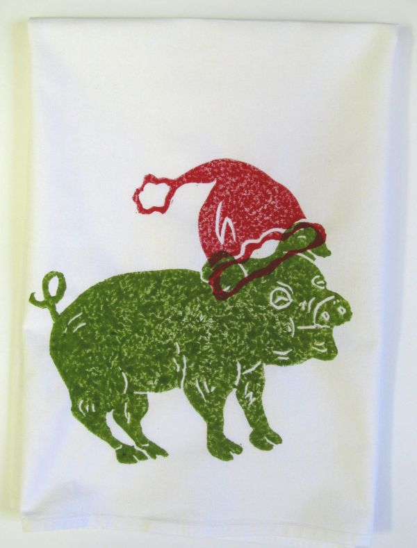 green pig red hat towel