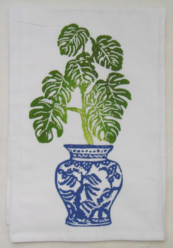 monstera plant towel