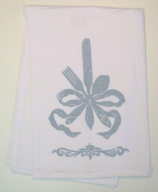 ribbon silverware towel