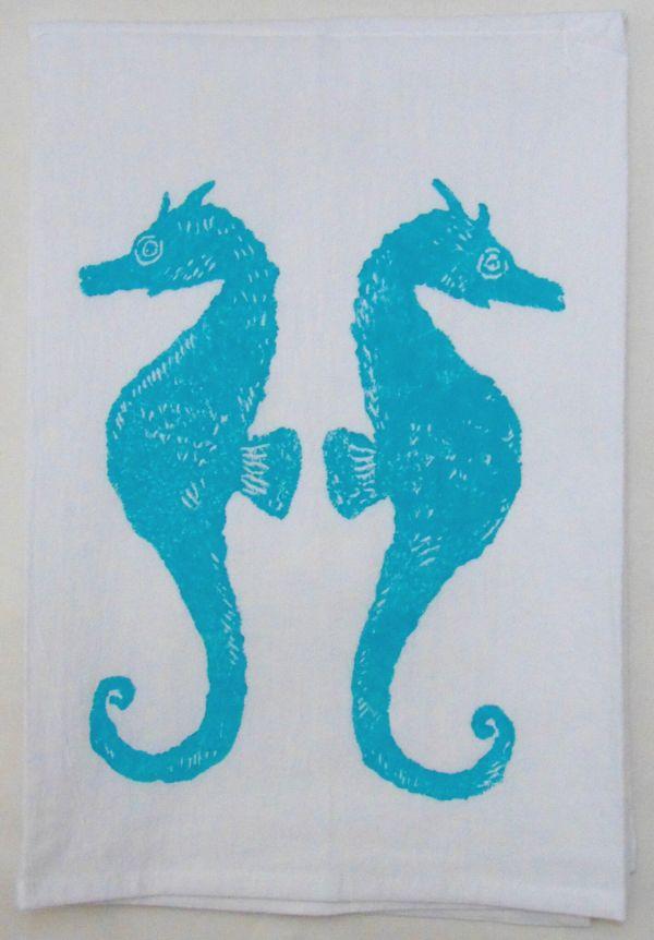 seahorse pair towel