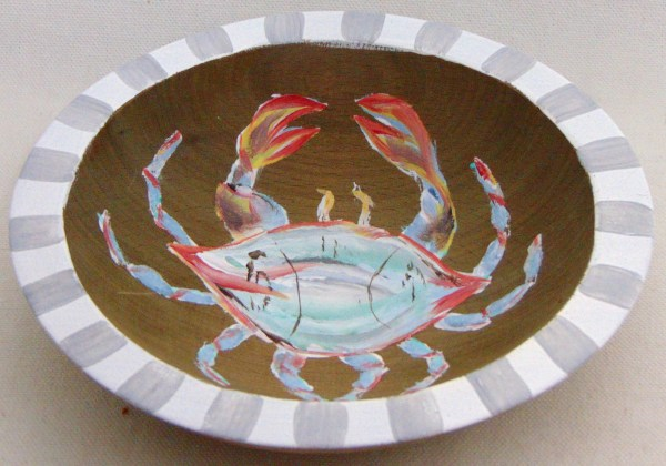HAND PAINTED CRAB ON RECLAIMED WOOD FINISH BOWL