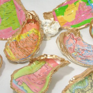 Map Oyster Shell Bowls