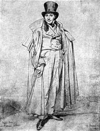 """Monsieur Leblanc,"" by Ingres, 1823. http://www.costumes.org/pages/regentfashplates.htm"