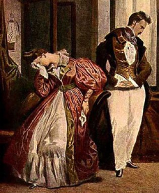 """""""The Parting"""", by Deyeria, c.1835 in Max von Boehn's Modes and Manners of the 19th Century http://www.costumes.org/pages/regentfashplates.htm"""