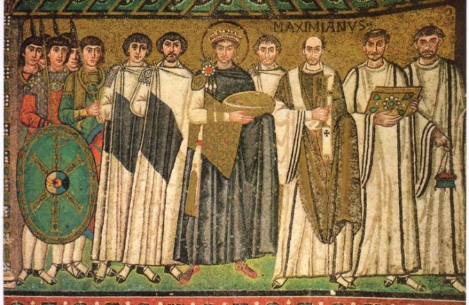 Byzantine Emperor Justinian I (527 – 565) and his court depicted on the walls of the Basilica of San Vitale in Ravenna, Italy.