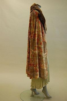 A cape of fine stencilled Mariano Fortuny velvet, 1920's