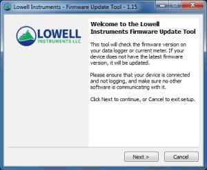 Screen capture of Lowell Instruments Firmware Update Tool