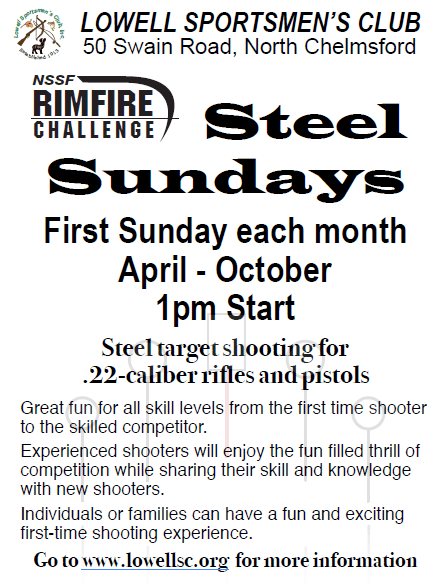 Rimfire Steel Sundays 2018 flyer