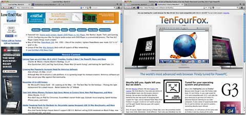 Low End Mac and TenFourFox home pages displayed in TenFourFox