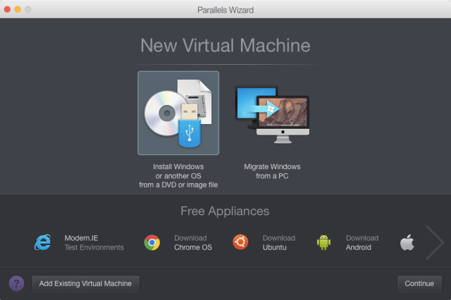 Creating a new virtual machine in Parallels Desktop 11