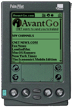 AvantGo home screen on Palm emulator