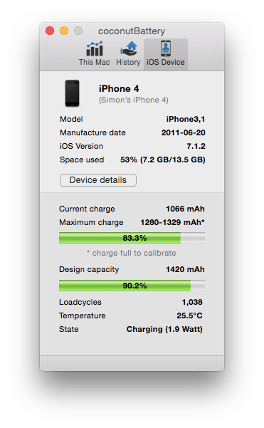 Coconut Battery Now Supports iOS Devices | Low End Mac