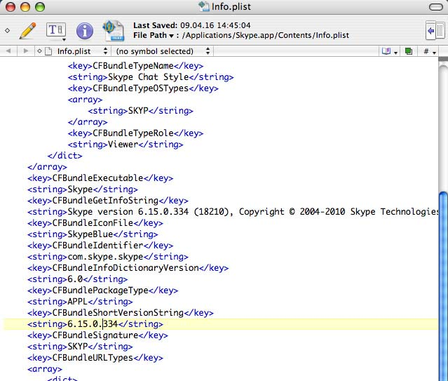 Skype info.plist in TextWrangler