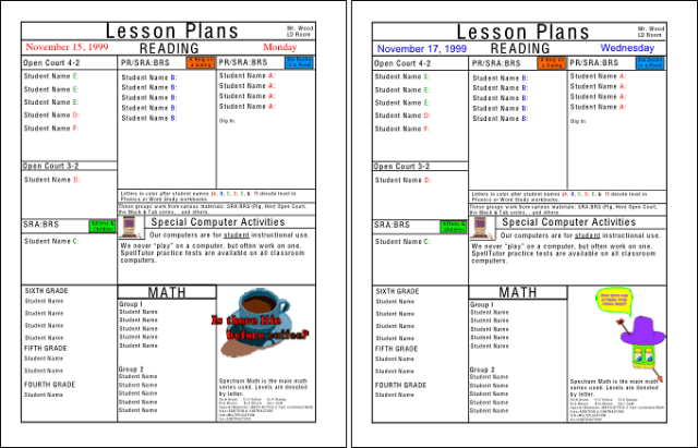 Lesson plan, 2 page spread