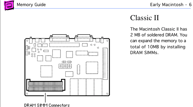 Mac Classic II page from Apple Memory Guide