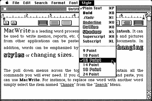 MacWrite screen shot