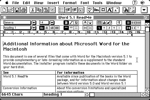 Microsoft Word 5.1 for Mac