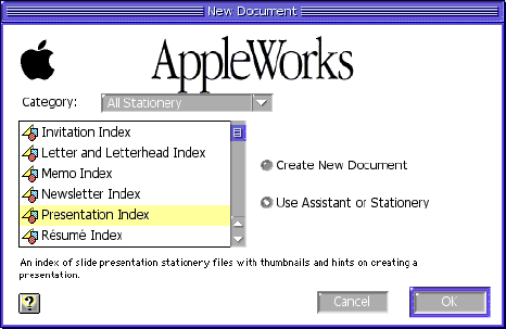 create a new document in AppleWorks