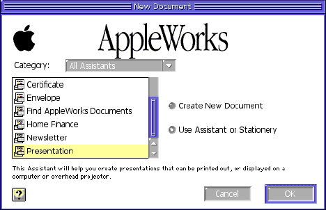 AppleWorks new document assistant