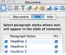 Pages uses styles to create table of contents