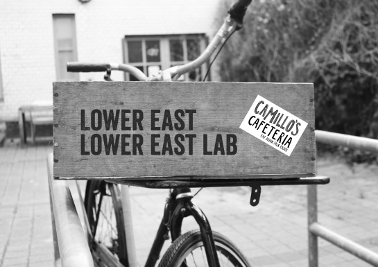 The Lower East Lab bike dressed for Camillo's Cafeteria event