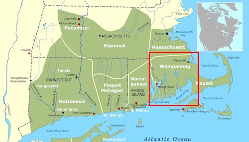 Historical range of the Wampanoag Tribe (source: Wikipedia)