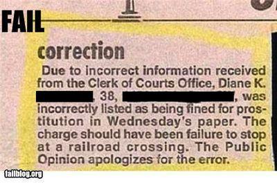 Correction fail