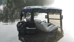 submerged golf cart