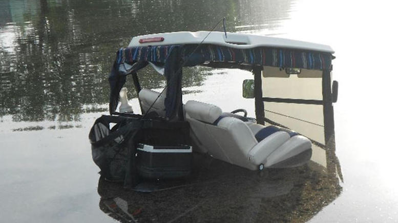 submerged golf cart
