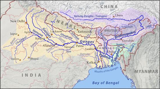 map of Ganges basin