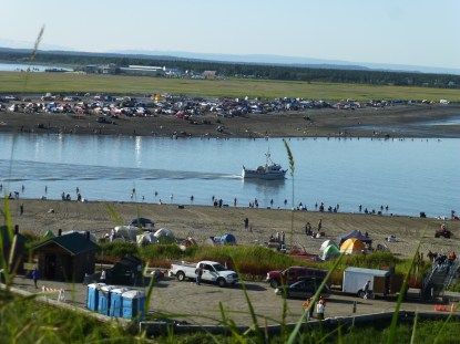 Both sides of the shoreline were packed with frenzied fishermen