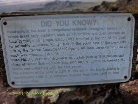 Blurb about Picacho Peak at the saddle of the mountain