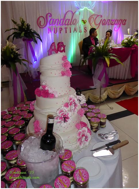 The wedding cake stands ready