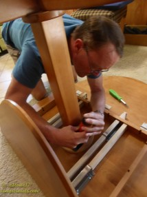 Working on the dinette table