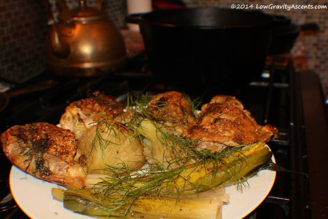 Roasted chicken with fennel and leeks