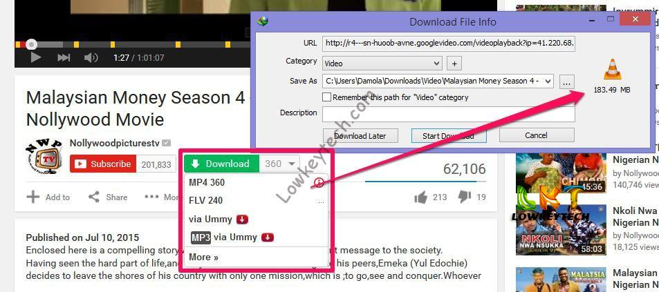 How to download latest 2015 nollywood movies on youtube lowkeytech now we are done with the steps as you can see from the snapshot above downloading youtube videos seems so easy with just one click youve downloaded your ccuart Gallery