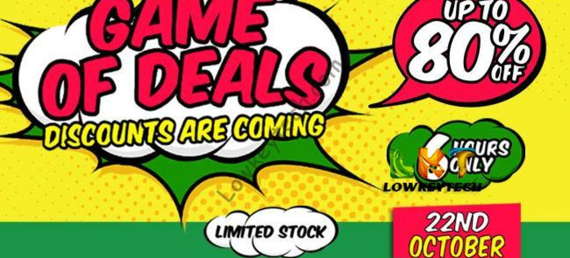 JUMIA GAME OF DEALS:  6-Hours of Fierce 80% Discount Starting 22nd October