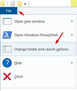 click on the 'File > Change Folder and search options'