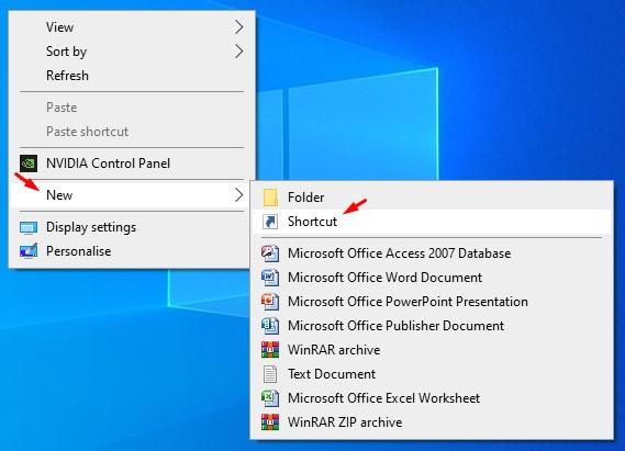 select New > Shortcut
