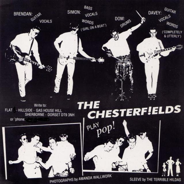 The rear cover of a Chesterfieds showing the band in high spirits, if black and white