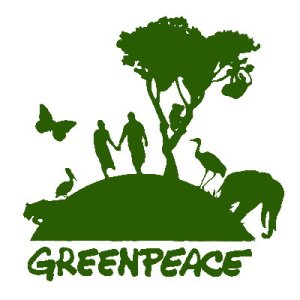 Greenpeace logo of animals, plants and humans hand in hand on a planet earth of about twenty metres in diameter