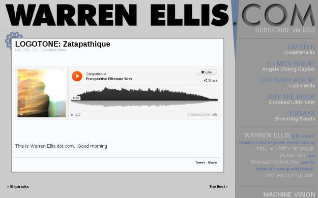 Screen capture from Warren Ellis's website showing the my attempted logotone
