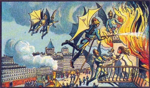 Early 20th Century French Drawing Imagining A Flying Fire Brigade In The Year 2000