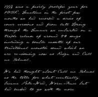 The first page of the Call Me Ishmael booklet containing the second part of the poem Voice Of The Rain by AF Harrold which can be found on the Bygones page.