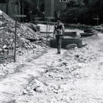 The Gits on the building site that became Chesworth Gardens Horsham. Jime walks across the broken ground that would later become a road