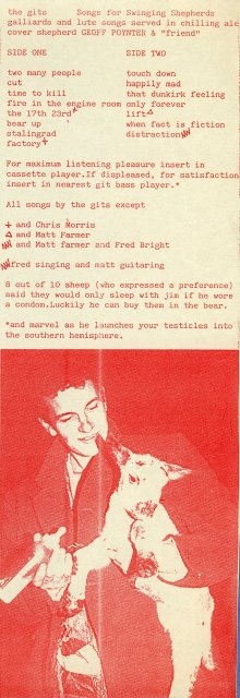 Songs For Swinging Shepherds cassette inlay featuring Geoff Poynter holding a lamb and feeding it with a baby's bottle on the front.