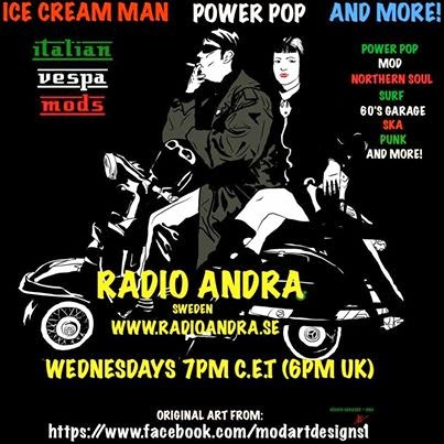 Ice Cream Power Pop And More Radio Show Graphic of a drawing of a couple on a scooter failing to observe sensible precautions.