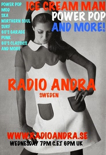Ice Cream Power Pop And More Radio Show Graphic of a sixties model in a mini skirt dress