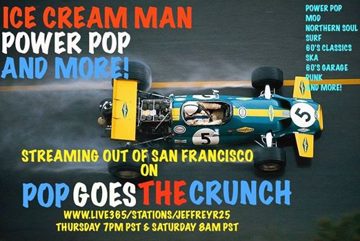 Pop Goes The Crunch Podcast Graphic freaturing a 1960s motor racing car seen directly from above