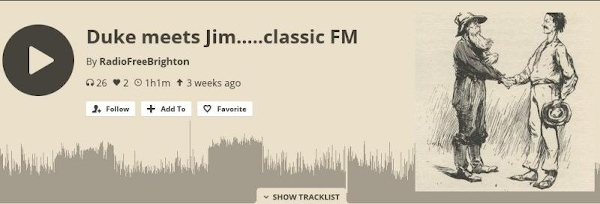 Screenshot of Radio Free Brighton Mixcloud upload of Jim's interivew